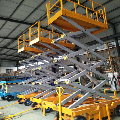 Mobile scissor lift tables manual driving 4000mm