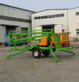 Trailer articulated boom lift platform