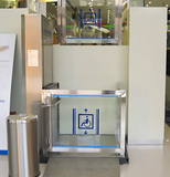Stainless steel and steel glass finished hydraulic wheelchair lift platform 1000mm loading capacity