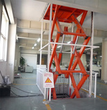 Customized cargo scissor lift with guide rail